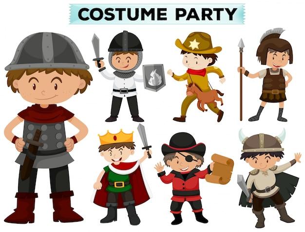 Kostüm-party mit jungen in verschiedenen kostümen