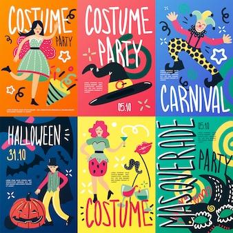 Kostüm party plakate set