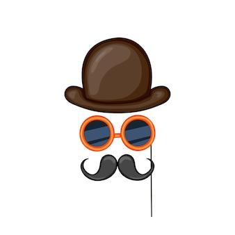 Kostümelemente für partys, hut, brille, schnurrbart