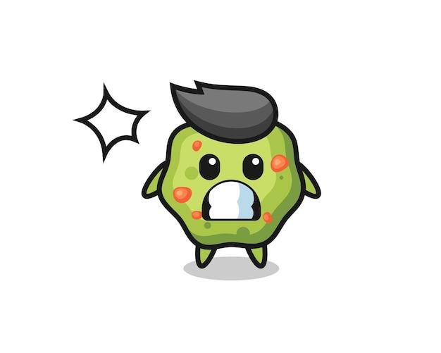Kotzen charakter cartoon mit schockierter geste, süßes design für t-shirt, aufkleber, logo-element