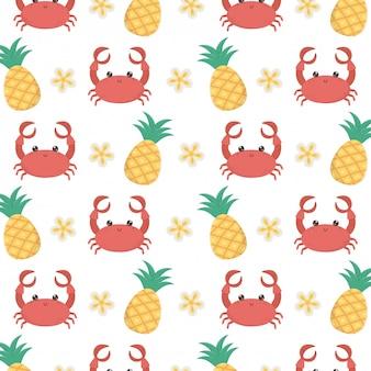 Krabben-cartoon und ananas-hintergrund