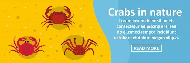 Krabben im horizontalen konzept der naturfahne