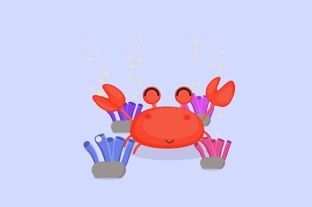 Krabben mit hintergrundblase und korallenriffen