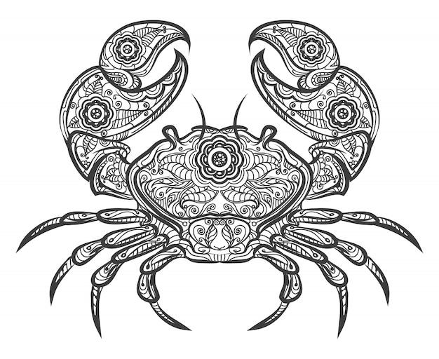 Krabben-zentangle-symbol. hand gezeichnete krabbe