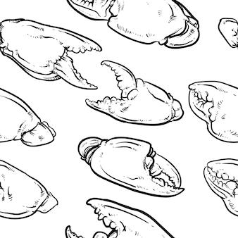 Krabbengreifermuster einschließlich nahtlos auf weißem hintergrund