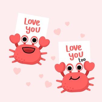 Krabbenpaar mit text liebt dich