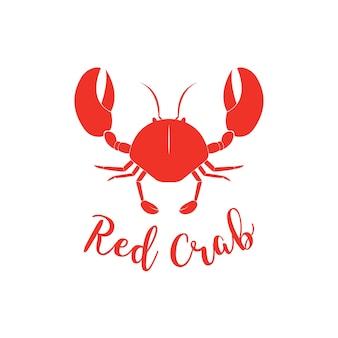 Krabbensilhouette. seafood shop logo branding vorlage für lebensmittelverpackungen oder restaurant-design