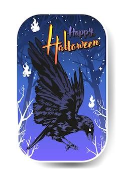 Krähe auf dem friedhof, glückliche halloween-krähe-vektorillustration