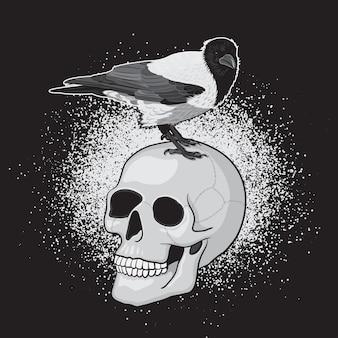 Krähenvogel auf dem menschlichen schädel mit schwarzem hintergrund