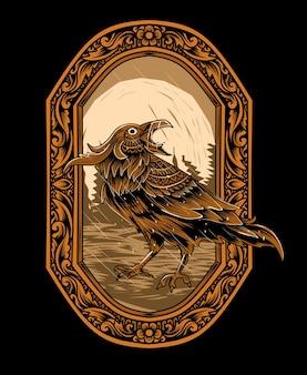 Krähenvogel auf gravurverzierungsflammenillustration