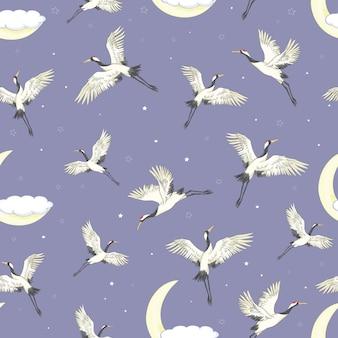 Kräne, die nahtloses muster fliegen