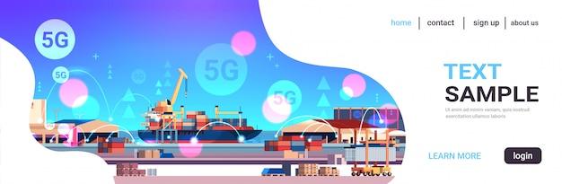 Kräne laden container auf schiff 5g online-wireless-system verbindung fracht seehafen seetransport konzept industriezone werft hintergrund horizontale kopie raum