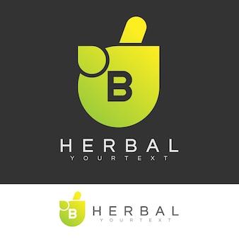 Kräuteranfang buchstabe b logo design