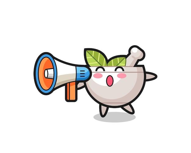 Kräuterschüssel-charakterillustration, die ein megaphon hält, niedliches design für t-shirt, aufkleber, logo-element