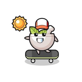 Kräuterschüssel-charakterillustration fährt ein skateboard, niedliches design für t-shirt, aufkleber, logo-element