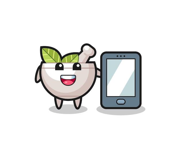 Kräuterschüsselillustrationskarikatur, die ein smartphone hält, niedliches artdesign für t-shirt, aufkleber, logoelement