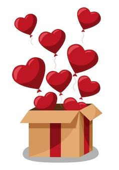 Kraft geschenkbox mit herzförmigen luftballons. glückliche valentinstagdekoration. flache entwurfsillustration des vektors.