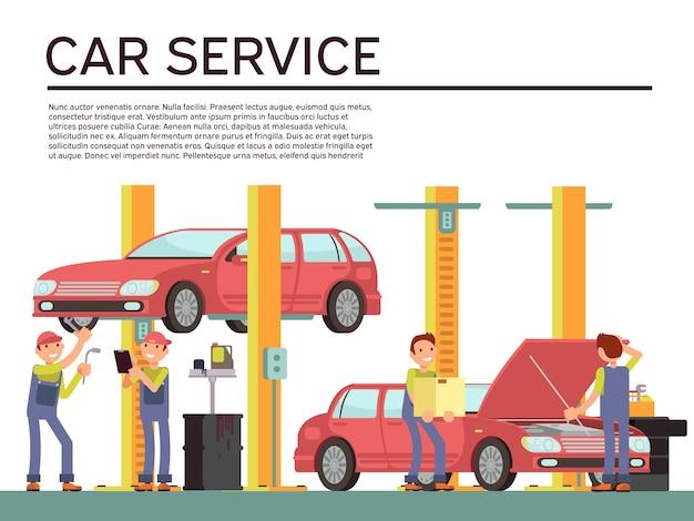 Kraftfahrzeugservice und fahrzeugkontrollvektorhintergrund mit auto und mechanikern in der uniform