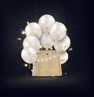 Kraftpaket mit weißen luftballons