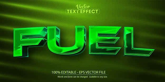 Kraftstofftext, bearbeitbarer texteffekt im glänzenden grünen chromfarbstil