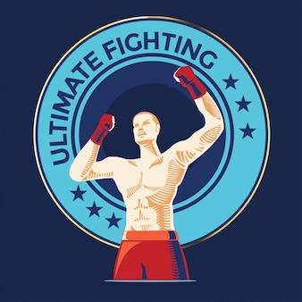 Kraftvoller aggressiver kämpfer zeigt seine muskeln auf der arena