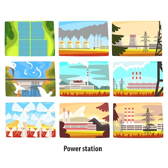 Kraftwerks-set, umweltfreundliche emissionsarme kraftwerke und emissionsfreie kraftwerke sowie farbenfrohe illustrationen von energieerzeugungsanlagen