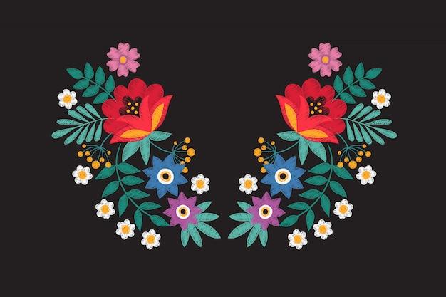 Kragenstickerei blumenmuster mit wildblumen. stammes- halskette des nähenden details mit blumen lokalisierte vektor