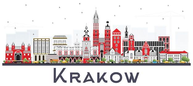 Krakau polen skyline mit farbigen gebäuden. geschäftsreise- und tourismuskonzept mit historischer architektur. krakauer stadtbild mit sehenswürdigkeiten.