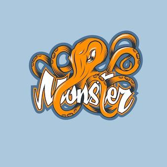 Krake auf namen monster, logo in der hand gezeichneten karikaturart.