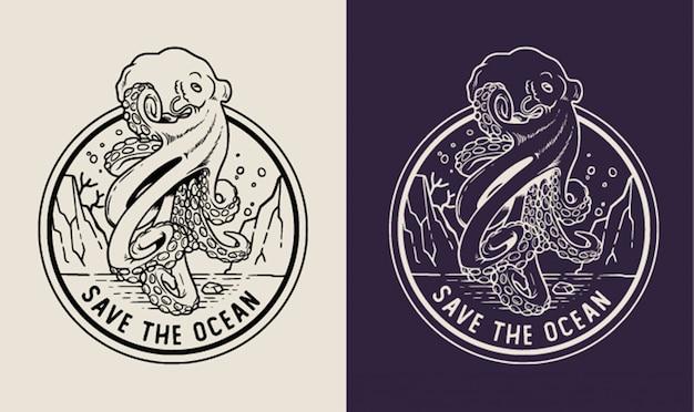 Krake retten den ozean monoline abzeichen