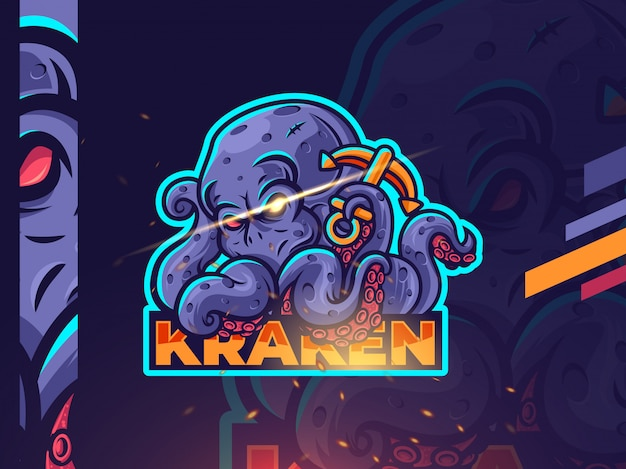 Kraken esport maskottchen logo design