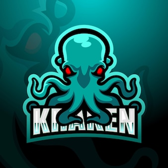 Kraken maskottchen esport illustration