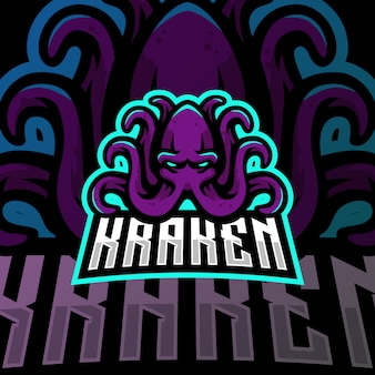Kraken maskottchen logo esport gaming illustration
