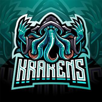Kraken octopus esport maskottchen logo design