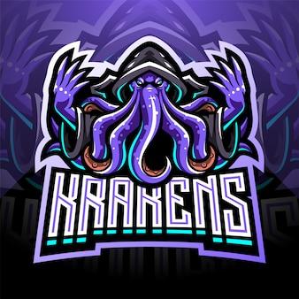Kraken octopus esport maskottchen logo