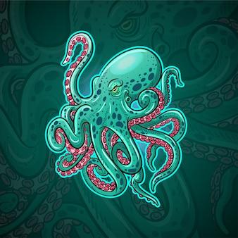 Kraken octopus maskottchen esport logo design