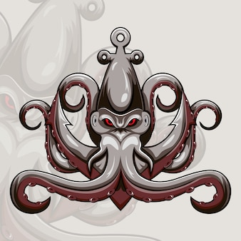 Kraken octopus maskottchen logo