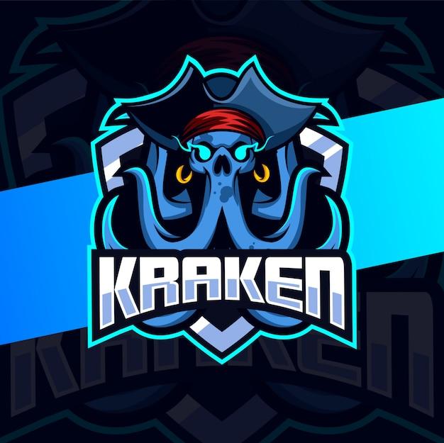 Kraken schädel maskottchen esport logo design