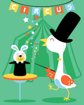 Kran der magier in der zirkusshowkarikatur