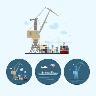 Kran entlädt container von frachtcontainerschiffen, set mit 3 runden bunten symbolen, mehrfarbiger kran, kran entlädt container von frachtcontainerschiffen und frachtcontainerschiffen, logistiksymbole