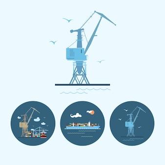 Kran im dock. set mit 3 runden bunten symbolen, mehrfarbigem kran, kran entlädt container von frachtcontainerschiffen und frachtcontainerschiffen, logistischen symbolen, vektorillustration