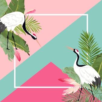Kraniche vögel und tropische blätter sommerbanner, grafischer hintergrund, exotische blumeneinladung, flyer oder karte. moderne startseite in vektor