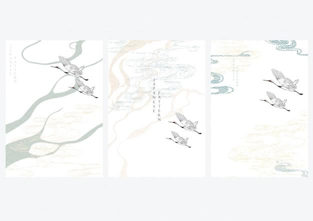Kranichvögel mit japanischem muster. geometrischer hintergrund mit hand zeichnen wellenelemente.