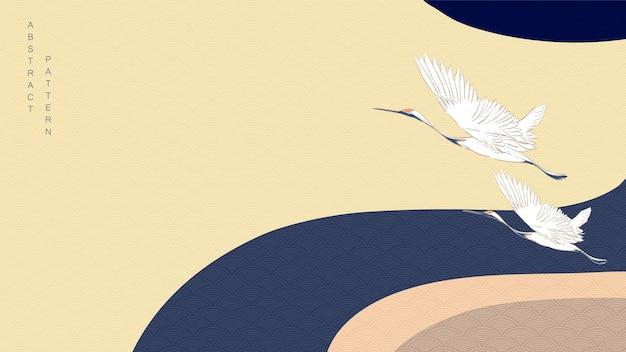 Kranichvögel mit kurvenhintergrund. japanisches wellenmuster mit gewelltem banner.