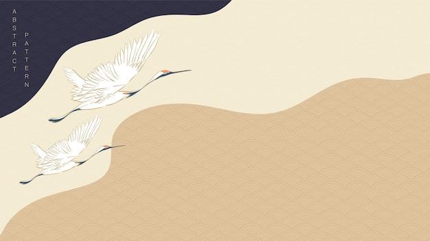Kranichvögel mit kurvenhintergrund. japanisches wellenmuster mit gewelltem element.