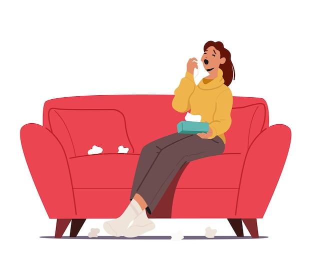 Kranke frau, die mit tüchern herum niest