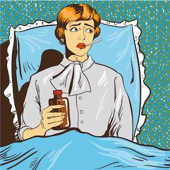 Kranke frau mit fieber legen sich auf ein bett im krankenzimmer. mädchen hält thermometer in den mund. abbildung pop-art-comic-stil