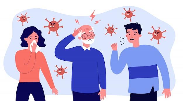 Kranke menschen, die eine coronavirus-infektion verbreiten