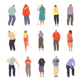 Kranke menschen mit schmerz, schmerzillustration, karikatur unglücklichen mann frau kranken charakteren haben im körperteil verletzt, krankheit auf weiß isoliert