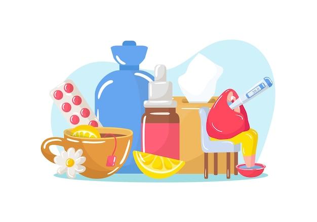 Kranke person verwendet medizin, vektorillustration. manncharakter mit krankheit, grippeerkrankung, die in der nähe einer riesigen medizinischen pille sitzt, spray und heißer tee.